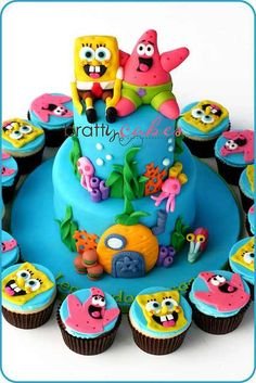 Spongebob cake - love this idea with the cupcakes too.