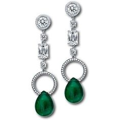 Beautiful pear shaped #emerald earrings with #diamonds by @martinkatzjewels