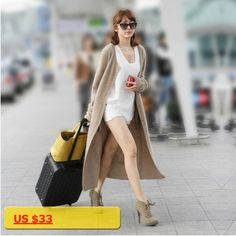 Free shipping cashmere cardigan slim female long paragraph long-sleeved sweater solid color sweater cashmere sweater coat