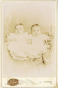 A Pair of Little Twin Dumplings from Clinton Illinois Antique Cabinet Card | eBay