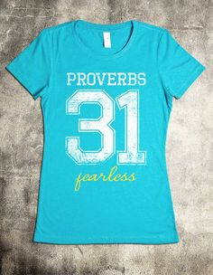 """Proverbs 31 T-Shirt"" V-Neck Christian Shirt - ""She is clothed with strength and dignity; she can laugh at the days to come."" - Proverbs 31:25"
