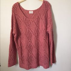 """Pins And Needles Sweater Coral / pink open knit sweater from the urban outfitters brand """"pins and needles"""". Worn once. Very good condition Urban Outfitters Sweaters Crew & Scoop Necks"""