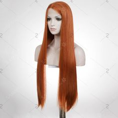 Graceful Women's Long Natural Straight Auburn Brown Lace Front Synthetic Wig (AUBURN BROWN) | Sammydress.com