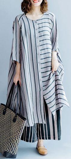 New gray striped linen dresses asymmetric patchwork o neck dress 1fa3eb12134