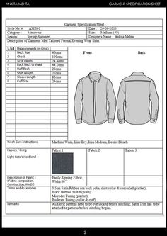 Menswear Formal Shirt Garment Specification Sheet