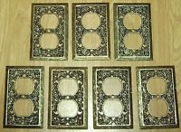 Vintage Hollywood Regency Ornate Outlet Cover Plates - Gold - Lot of 7