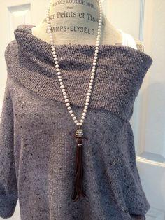Bohemian glam freshwater pearl leather tassel rhinestone boho chic versatile hand knotted long layering necklace by MarleeLovesRoxy by MarleeLovesRoxy on Etsy https://www.etsy.com/listing/204754197/bohemian-glam-freshwater-pearl-leather