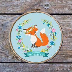 Customisable Cross Stitch Pattern, Birth Announcement Cross Stitch pattern, Fox Cross stitch pattern,modern cross stitch pattern, Little Fox by MyFunnyStitches1 on Etsy https://www.etsy.com/listing/263123482/customisable-cross-stitch-pattern-birth