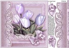 Lilac Tulips In A Pink Rope Frame - 8in X 8in Decoupage