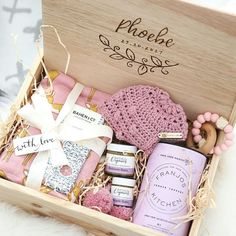 Baby Girl Deluxe Baby Box from Hooked in a Box | Personalised new baby hamper with gorgeous baby gift box products | Click to visit website to see details of these new baby gift ideas.