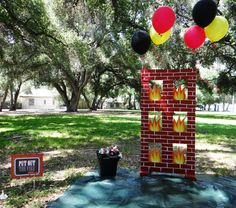 Pictures from Parker's 4th Birthday - Fire Truck/Fireman themed party. Bean bag toss idea?