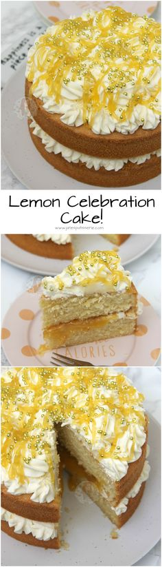 ❤️ A Delicious, Light & Lemony Sponge filled with a dash of Lemon Curd, and a Luscious Lemon Buttercream! ❤️ A Delicious, Light & Lemony Sponge filled with a dash of Lemon Curd, and a Luscio Lemon Desserts, Lemon Recipes, Baking Recipes, Lemon Cakes, Cakes To Make, Barres Dessert, Frosting Recipes, Cake Recipes, Vegan Lemon Cake