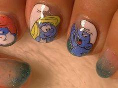 Smurfs Nail Art -- No Drawing Needed!