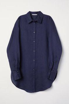 2bc68dbf Linen Shirt - Midnight blue - Ladies | H&M US 5 Denim Button Up, Button