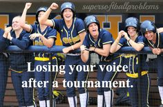 Lol Ashley this reminded me of when you lost your voice junior year (I think. maybe sophomore) after a tournament. Girls Softball, Softball Players, Volleyball, Softball Things, Softball Cheers, Softball Stuff, Soccer, Funny Softball Quotes, Softball Problems