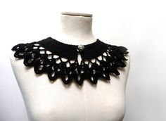 Crochet Peter Pan Collar in Black Wool with Silver Button by ixela, $36.00