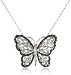 #blackdiamondgem #carbonado Sterling Silver Black and White Diamond Butterfly Pendant Necklace (1/3 cttw),18″by Amazon Collection - See more at: http://blackdiamondgemstone.com/jewelry/necklaces/pendants/sterling-silver-black-and-white-diamond-butterfly-pendant-necklace-13-cttw18-com/#sthash.erQruknw.dpuf