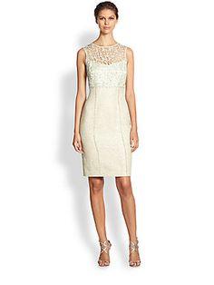 Kay Unger Sequined Metallic Lace & Bouclé Dress