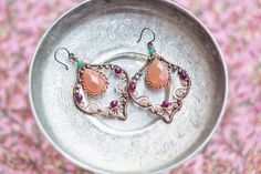 Wire wrapped boho copper earrings with pumpkin agate and ruby jade - filigree oxidized antiqued hammered