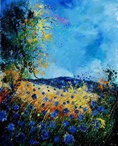 "Saatchi Online Artist: Pol Ledent; Oil, 2012, Painting ""blue cornflowers 450507"""