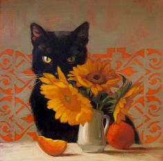 "Daily Paintworks - ""The Fellow & Cat Art Show The Sequel"" - Original Fine Art for Sale - © Diane Hoeptner Cat Drawing, Painting & Drawing, Painting Tips, Watercolor Painting, Black Cat Art, Black Cats, Orange Art, Whimsical Art, Pet Portraits"