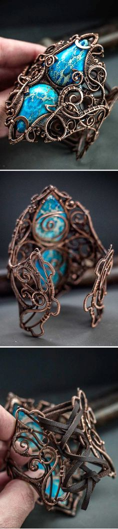 Complicated huge copper wire wrapped bracelet.