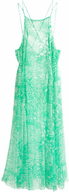 H&M Chiffon Dress - Green - Ladies on shopstyle.com