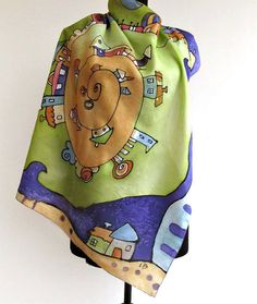 Hand Painted Silk Scarf Town by AHouseAtelier on Etsy, $70.00