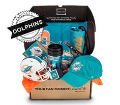 Miami Dolphins Gift Boxes from FANCHEST include Dolphins Apparel, Gear, and Merchandise. The Ultimate Gift for Any Miami Dolphins Fan. FANCHEST offers Free Exchanges and Free Returns - *No Commitments and No Subscriptions. New Nfl Helmets, Baby Box, The Ultimate Gift, Miami Dolphins, Football Players, Pure Products, Gifts, Gift Ideas, Mini