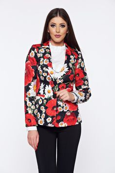 Artista black tented jacket with floral print, women`s blazer, padded shoulders, with pockets, floral prints, inside lining, slightly elastic fabric