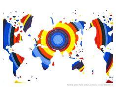 Rainbow world, collage de petits soldats peints sur toile, 70x100cm Paolo Ceribelli