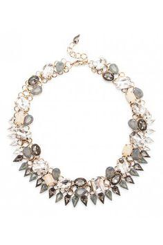 Grey crystal & glass stone statement necklace