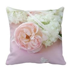 Roses with hydrangeas on pink throw pillow #floralpillow, #weddinggift, #bridalshowergift, #girly, #antiquerose, #pinkandwhite