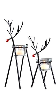 The cutest Reindeer you ever did see | The Pomeroy Collection Set Of 2 Reindeer Tealight Candle Holders