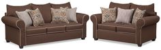 Carla Queen Innerspring Sleeper Sofa And Loveseat Set - Chocolate