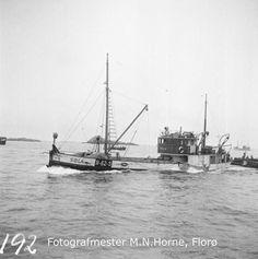 """Snurparen """"Sola"""" (R-62-S) kjem søkklasta inn til Florø for å melde inn fangsten av vintersild. """"Sola"""" var ein av dei minste av dei mange snurparane til A/S Chr. Bjelland & Co i Stavanger. Den var 87,9 fot lang, 17,5 fot brei og 8,2 fot djup, bygd av tre i 1917 og ombygd i 1951. Maskina var ein 80 hk Wichman. Det er fleire bilete av m/k """"Sola"""" i fotosamlinga. Stavanger, Sailing Ships, Flora, Boats, Pisces, Ships, Plants, Sailboat, Boat"""