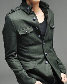 Elegant looking Korean style Men's Single Breasted Military Style ...