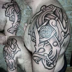 "251 Likes, 6 Comments - Sean Parry (@sacred_knot_tattoo) on Instagram: ""#nordic piece designed and tattooed by myself and @blackhandnomad. #viking #vikingtattoo #norse…"""