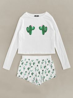 Shop Cactus Print Tee And Shorts Pajama Set online. SheIn offers Cactus Print Tee And Shorts Pajama Set & more to fit your fashionable needs. - Pajama Sets - Ideas of Pajama Sets Cute Pajama Sets, Cute Pajamas, Pajama Outfits, Pajama Shorts, Cute Lazy Outfits, Trendy Outfits, Teen Fashion Outfits, Girl Outfits, Women's Fashion