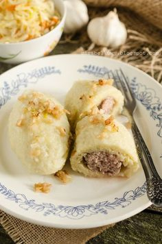 Cepeliny :) Dumplings, Baked Potato, Slow Cooker, Pancakes, Good Food, Food And Drink, Cooking Recipes, Sweets, Breakfast