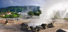 Boiling water in volcanic crater holes at Furnas. São Miguel, Azores islands, Portugal