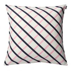 Designed by Carina Seth-Andersson this linen blend fabric has a classic look with a pink and navy grid on a backround of off white. The cushion has a bordered e Pink Throws, Pink Throw Pillows, Linen Pillows, Cushions, Marimekko Fabric, I Believe In Pink, Textiles, Quilted Pillow, Pillow Sale
