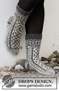 Knitted Socks Free Pattern, Knitting Patterns Free, Free Knitting, Crochet Patterns, Drops Design, Knit Mittens, Knitting Socks, Knitted Headband, Knitted Hats