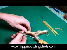 A quick and simple video tutorial on how to attach flatbands to a slingshot. Three different methods are described and shown in detail. Slingshot Band, Diy Slingshot, Crossbow Bolts, Homemade Weapons, Outdoor Toys, Archery, Besta, Survival, Ds