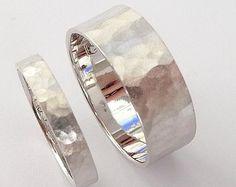 anneaux de mariage mis en or blanc bandes de mariage des hommes et des ...