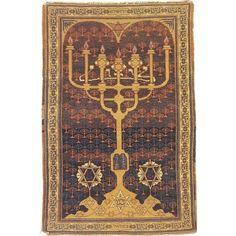 Jewish Tapestry - Menorah Antique Silk Bezalel Rug