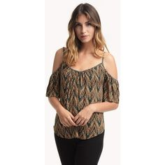 Ella Moss Naironi Cold Shoulder Top ($104) ❤ liked on Polyvore featuring tops, moss, cutout tops, brown tops, cold shoulder tops, viscose tops and cut shoulder tops