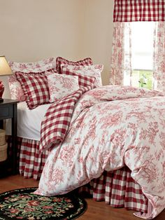 I luv these bedroom sets and RED. I always wanted a Pink or RED kitchen. I would use this in the guest room. I have always felt our bedroom needed to have a little of both. I don't know of any Man that would really feel comfortable with frills and colors like this to sleep in every night. I try to get things that are good for both of us. After all it's his room also.  akt