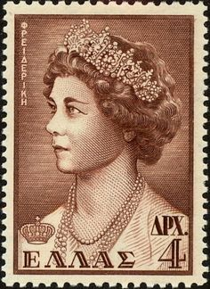 Queen Fredericka Ex Yougoslavie, Greek Royalty, Isabel Ii, Vintage Tags, Postage Stamps, Royals, Stamping, Greece, Poster