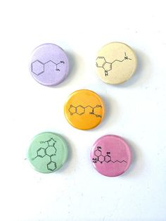 Chemical Cocktail 1 Button Set by DetroitButtons on Etsy, $5.00